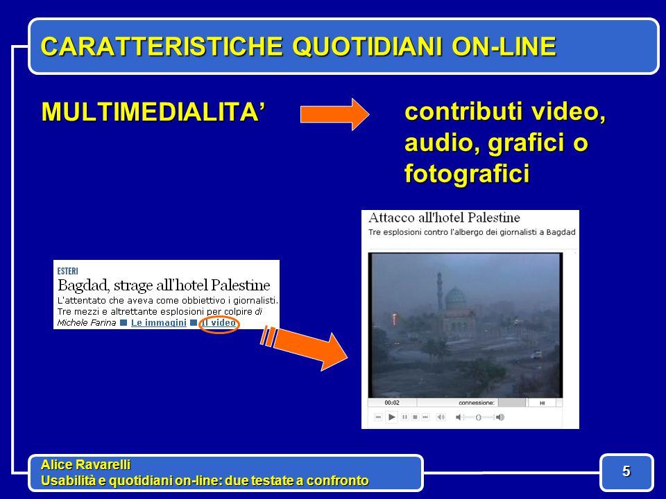 Alice Ravarelli Usabilità e quotidiani on-line: due testate a confronto 6 CARATTERISTICHE QUOTIDIANI ON-LINE INTERATTIVITA' Blog, forum, e-mail, sondaggi