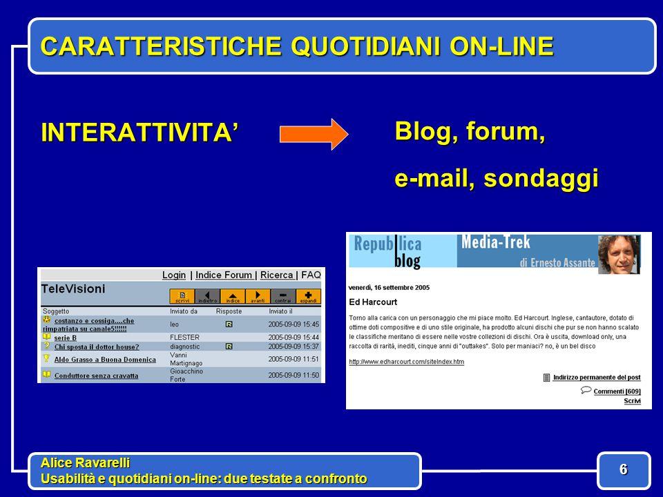 Alice Ravarelli Usabilità e quotidiani on-line: due testate a confronto 7 CARATTERISTICHE QUOTIDIANI ON-LINE IPERTESTO collegamenti fra notizie e link ad approfondimenti