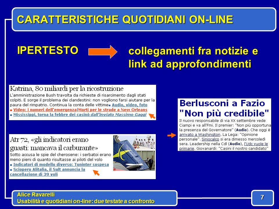 Alice Ravarelli Usabilità e quotidiani on-line: due testate a confronto 8 CARATTERISTICHE QUOTIDIANI ON-LINE TEMPESTIVITA' aggiornamenti in tempo reale