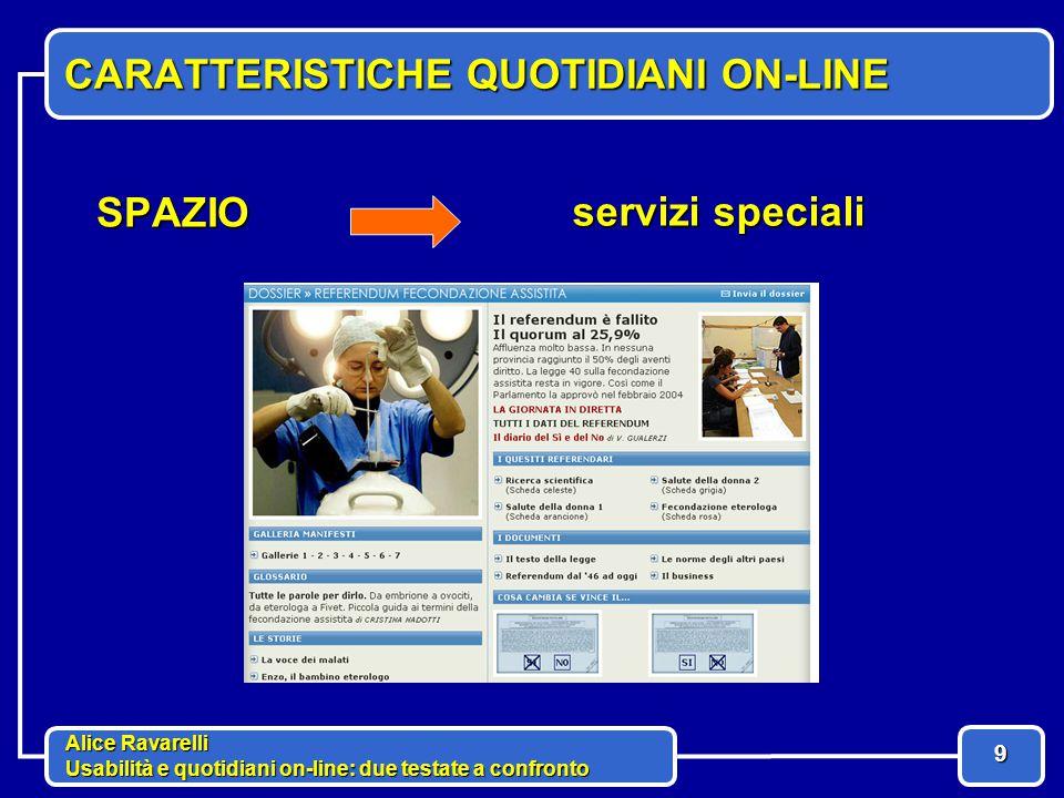 Alice Ravarelli Usabilità e quotidiani on-line: due testate a confronto 9 CARATTERISTICHE QUOTIDIANI ON-LINE SPAZIO servizi speciali