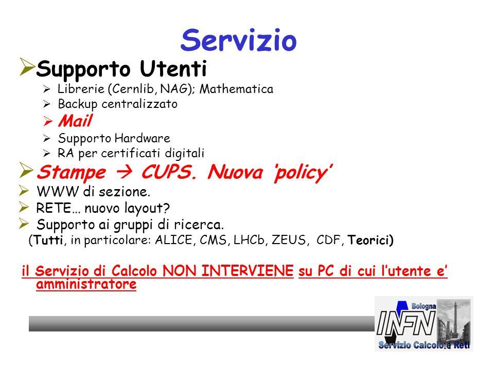 11 Servizio  Supporto Utenti  Librerie (Cernlib, NAG); Mathematica  Backup centralizzato  Mail  Supporto Hardware  RA per certificati digitali  Stampe  CUPS.