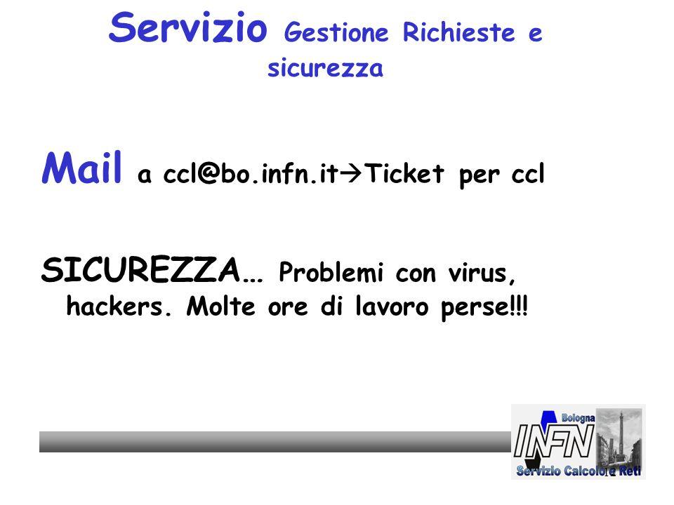 12 Servizio Gestione Richieste e sicurezza Mail a ccl@bo.infn.it  Ticket per ccl SICUREZZA… Problemi con virus, hackers.