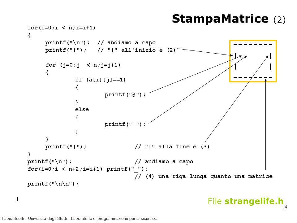 Fabio Scotti – Università degli Studi – Laboratorio di programmazione per la sicurezza 14 StampaMatrice (2) for(i=0;i < n;i=i+1) { printf( \n ); // andiamo a capo printf( | ); // | all inizio e (2) for (j=0;j < n;j=j+1) { if (a[i][j]==1) { printf( @ ); } else { printf( ); } printf( | ); // | alla fine e (3) } printf( \n ); // andiamo a capo for(i=0;i < n+2;i=i+1) printf( _ ); // (4) una riga lunga quanto una matrice printf( \n\n ); } File strangelife.h