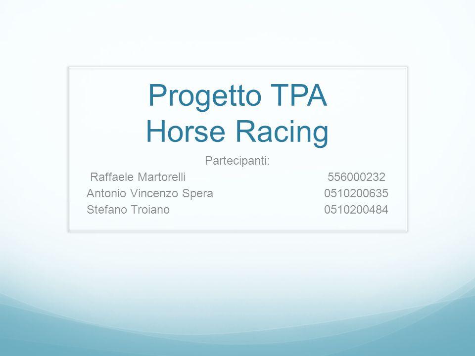Partecipanti: Raffaele Martorelli556000232 Antonio Vincenzo Spera 0510200635 Stefano Troiano 0510200484 Progetto TPA Horse Racing
