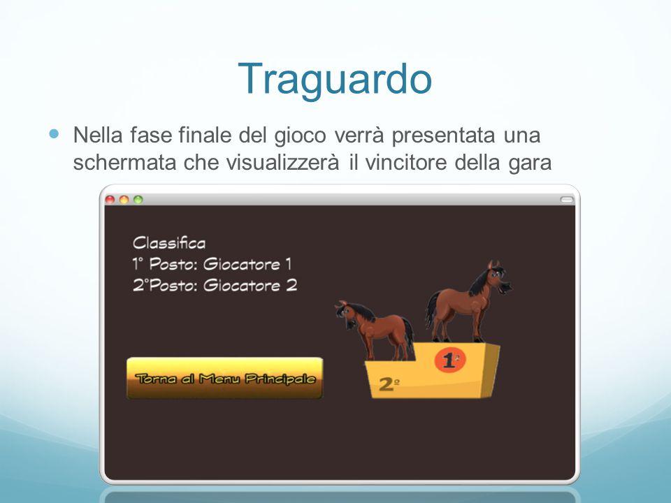 Traguardo Nella fase finale del gioco verrà presentata una schermata che visualizzerà il vincitore della gara