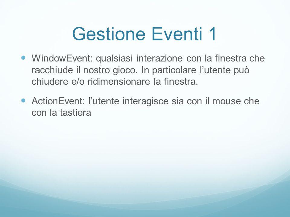 Gestione Eventi 2 ActionEvent: l'utente interagisce premendo una serie di bottoni presenti nella GUI, in particolare Avvia il gioco; Sceglie i livelli di difficoltà; Accede alla guida; Chiude il gioco.