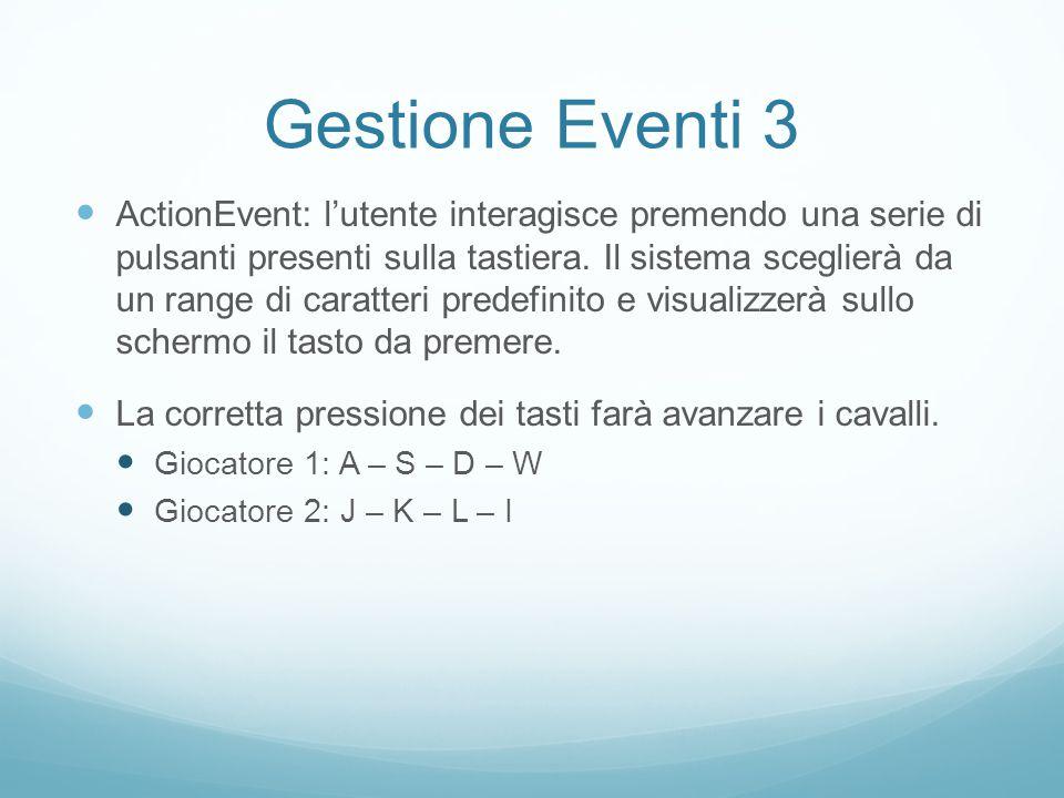 Gestione Eventi 3 ActionEvent: l'utente interagisce premendo una serie di pulsanti presenti sulla tastiera.