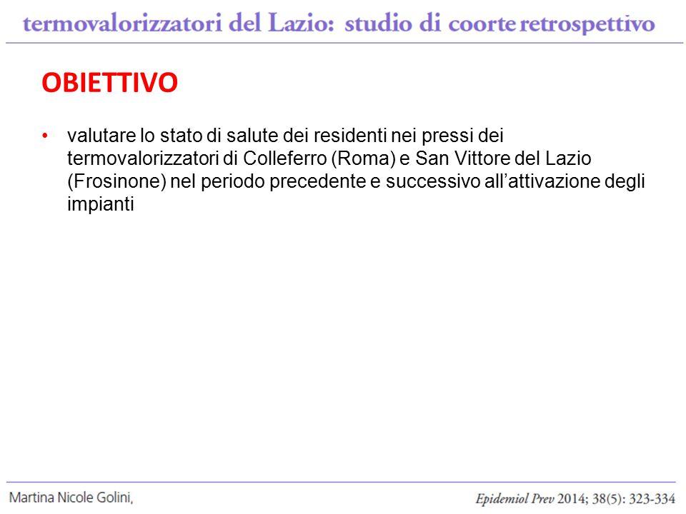 OBIETTIVO valutare lo stato di salute dei residenti nei pressi dei termovalorizzatori di Colleferro (Roma) e San Vittore del Lazio (Frosinone) nel periodo precedente e successivo all'attivazione degli impianti