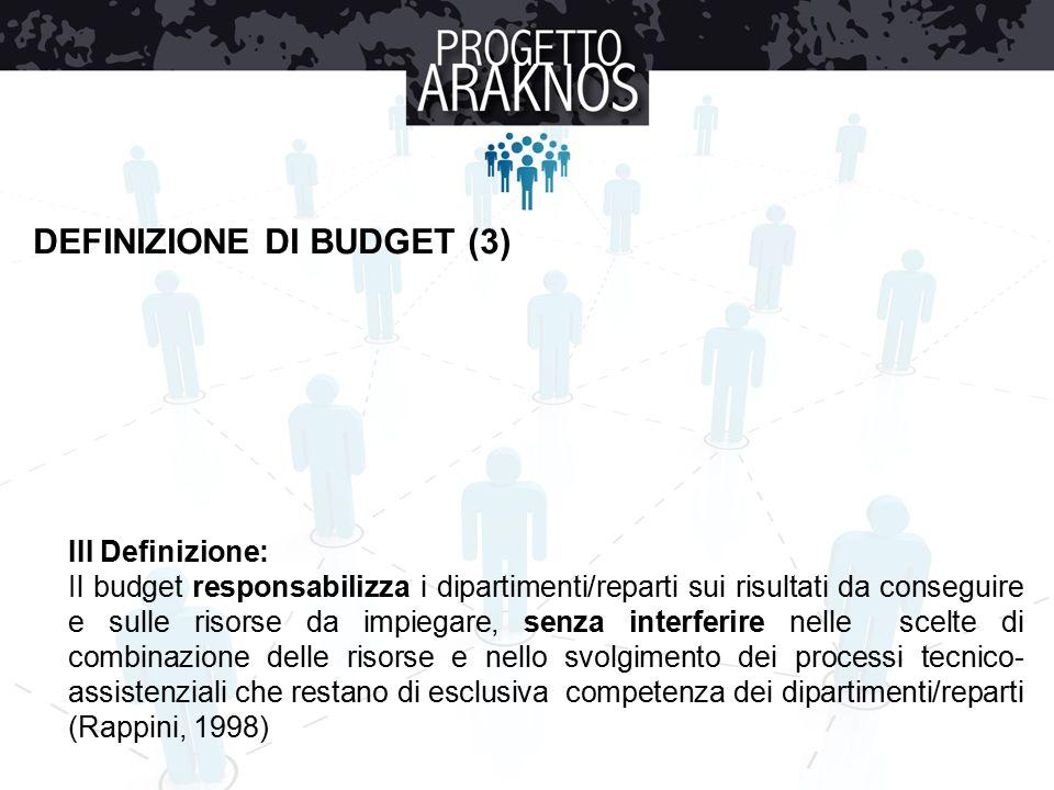 III Definizione: Il budget responsabilizza i dipartimenti/reparti sui risultati da conseguire e sulle risorse da impiegare, senza interferire nelle scelte di combinazione delle risorse e nello svolgimento dei processi tecnico- assistenziali che restano di esclusiva competenza dei dipartimenti/reparti (Rappini, 1998) DEFINIZIONE DI BUDGET (3)