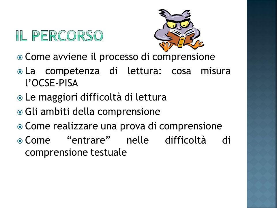  Come avviene il processo di comprensione  La competenza di lettura: cosa misura l'OCSE-PISA  Le maggiori difficoltà di lettura  Gli ambiti della