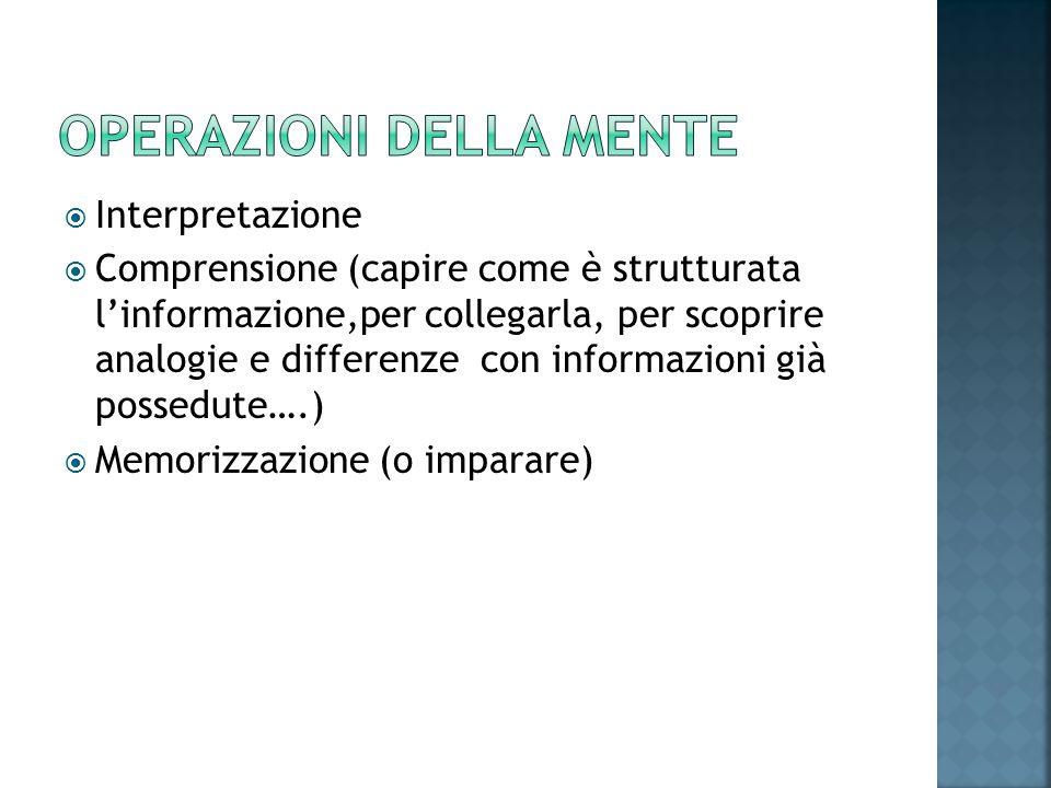  Interpretazione  Comprensione (capire come è strutturata l'informazione,per collegarla, per scoprire analogie e differenze con informazioni già pos