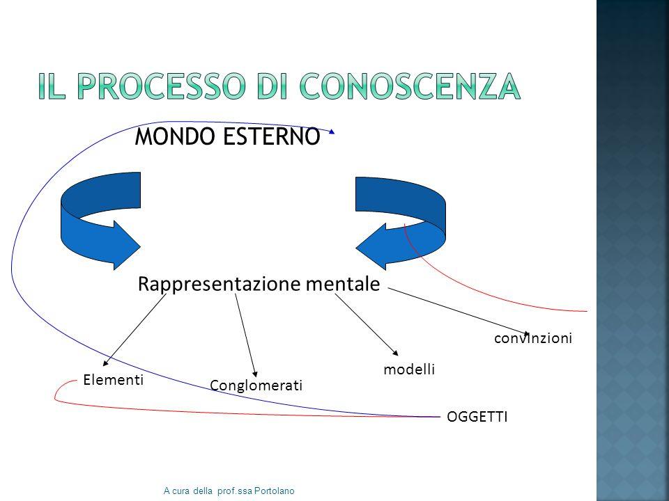 MONDO ESTERNO A cura della prof.ssa Portolano Rappresentazione mentale Elementi Conglomerati modelli convinzioni OGGETTI