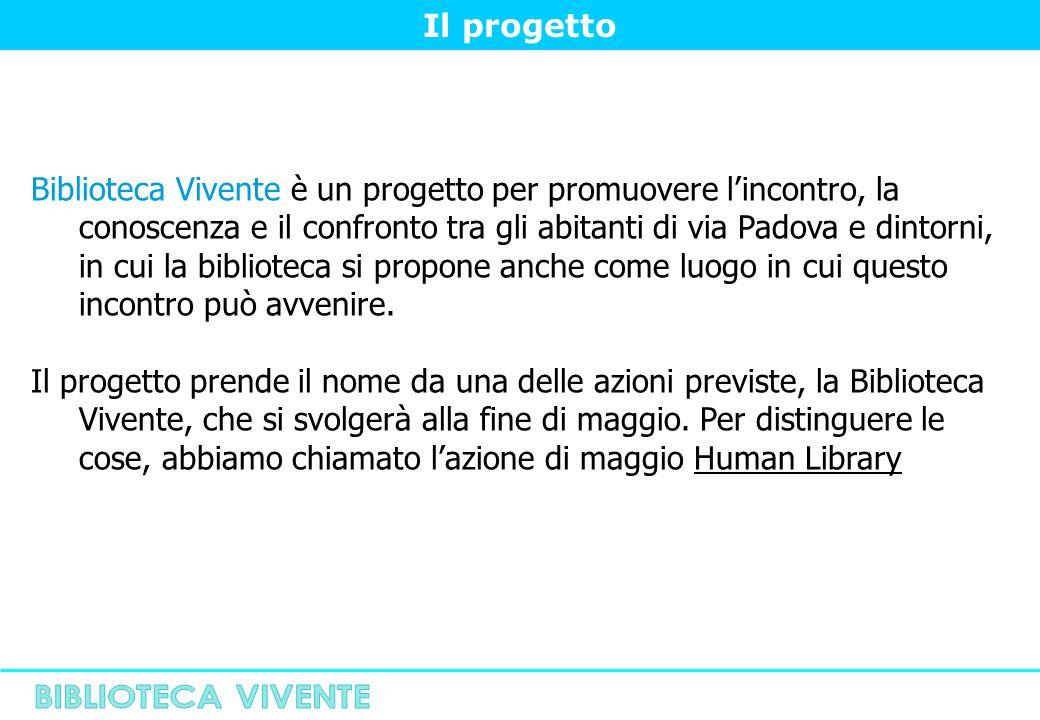 Il progetto Biblioteca Vivente è un progetto per promuovere l'incontro, la conoscenza e il confronto tra gli abitanti di via Padova e dintorni, in cui la biblioteca si propone anche come luogo in cui questo incontro può avvenire.