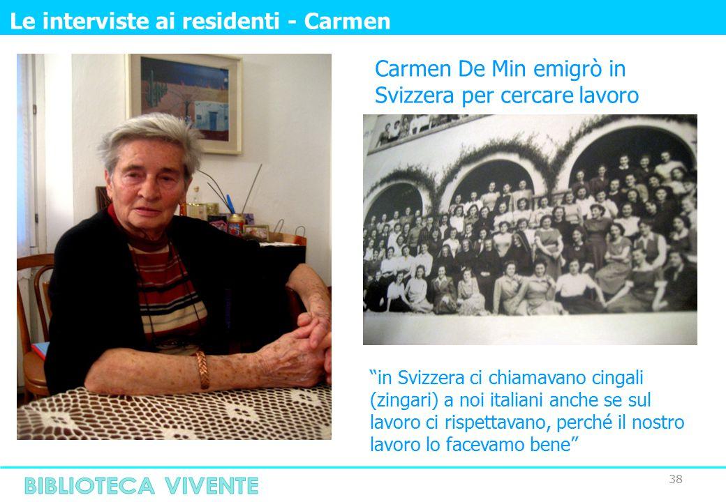 38 Le interviste ai residenti - Carmen Carmen De Min emigrò in Svizzera per cercare lavoro in Svizzera ci chiamavano cingali (zingari) a noi italiani anche se sul lavoro ci rispettavano, perché il nostro lavoro lo facevamo bene