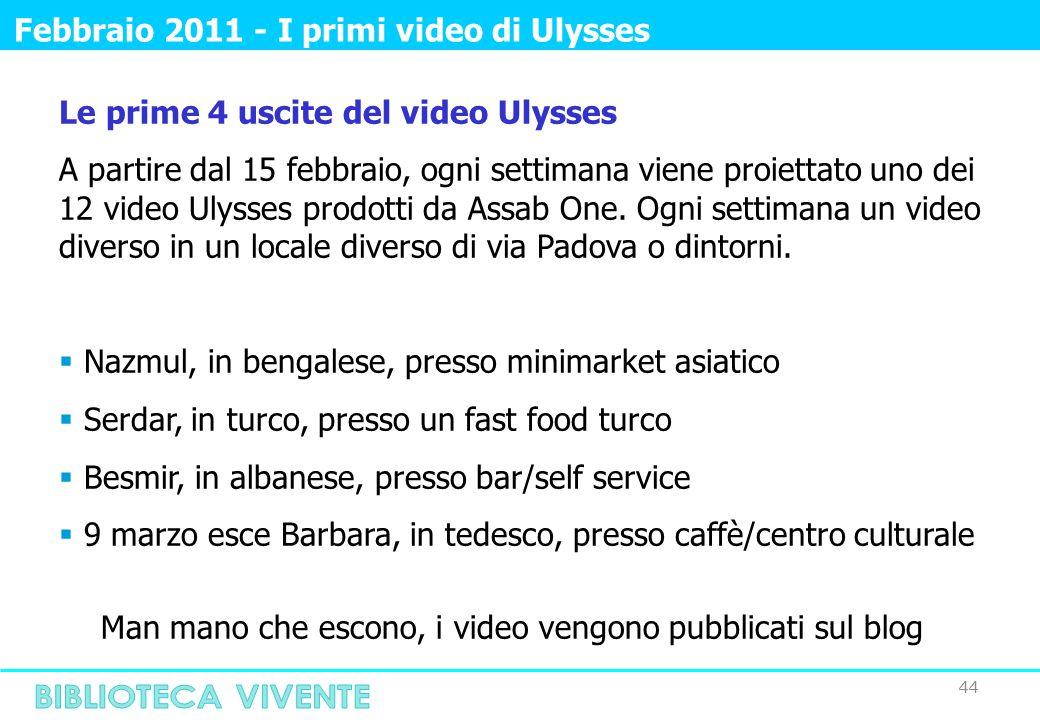 44 Febbraio 2011 - I primi video di Ulysses Le prime 4 uscite del video Ulysses A partire dal 15 febbraio, ogni settimana viene proiettato uno dei 12 video Ulysses prodotti da Assab One.