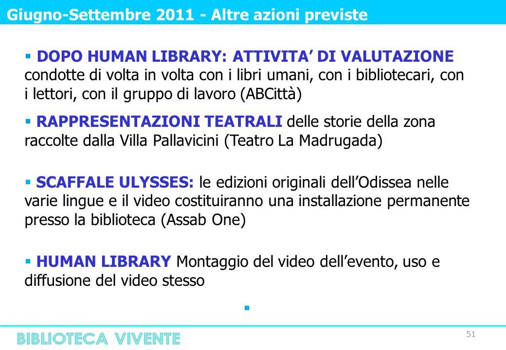 51 Giugno-Settembre 2011 - Altre azioni previste  DOPO HUMAN LIBRARY: ATTIVITA' DI VALUTAZIONE condotte di volta in volta con i libri umani, con i bibliotecari, con i lettori, con il gruppo di lavoro (ABCittà)  RAPPRESENTAZIONI TEATRALI delle storie della zona raccolte dalla Villa Pallavicini (Teatro La Madrugada)  SCAFFALE ULYSSES: le edizioni originali dell'Odissea nelle varie lingue e il video costituiranno una installazione permanente presso la biblioteca (Assab One)  HUMAN LIBRARY Montaggio del video dell'evento, uso e diffusione del video stesso 