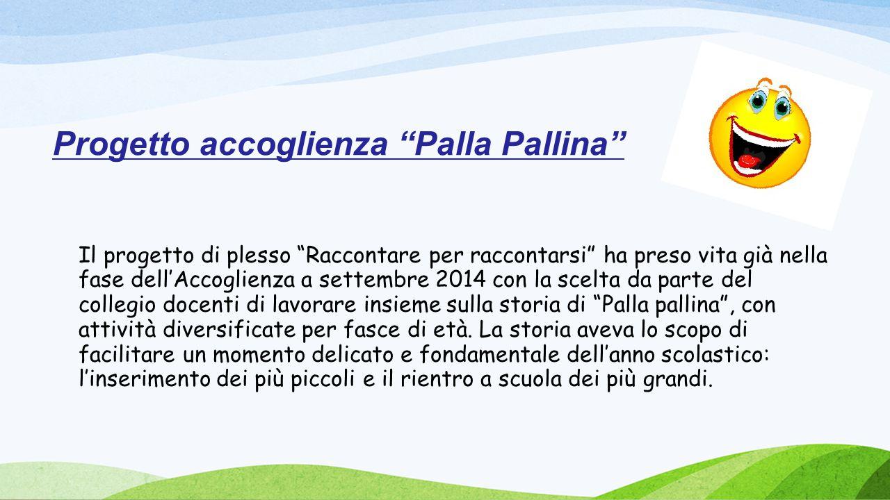 """Progetto accoglienza """"Palla Pallina"""" Il progetto di plesso """"Raccontare per raccontarsi"""" ha preso vita già nella fase dell'Accoglienza a settembre 2014"""