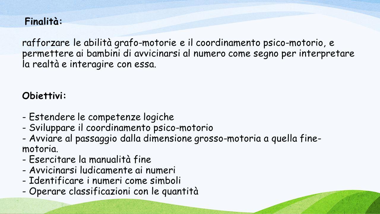 Finalità: rafforzare le abilità grafo-motorie e il coordinamento psico-motorio, e permettere ai bambini di avvicinarsi al numero come segno per interp