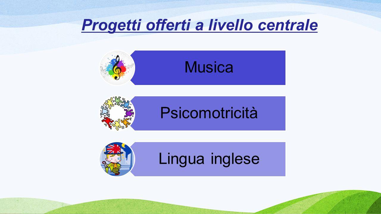 Progetti offerti a livello centrale Musica Psicomotricità Lingua inglese