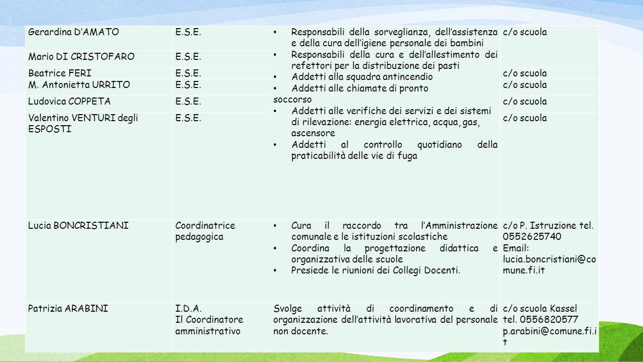 07/01/1 Gerardina D'AMATO E.S.E. Responsabili della sorveglianza, dell'assistenza e della cura dell'igiene personale dei bambini Responsabili della cu