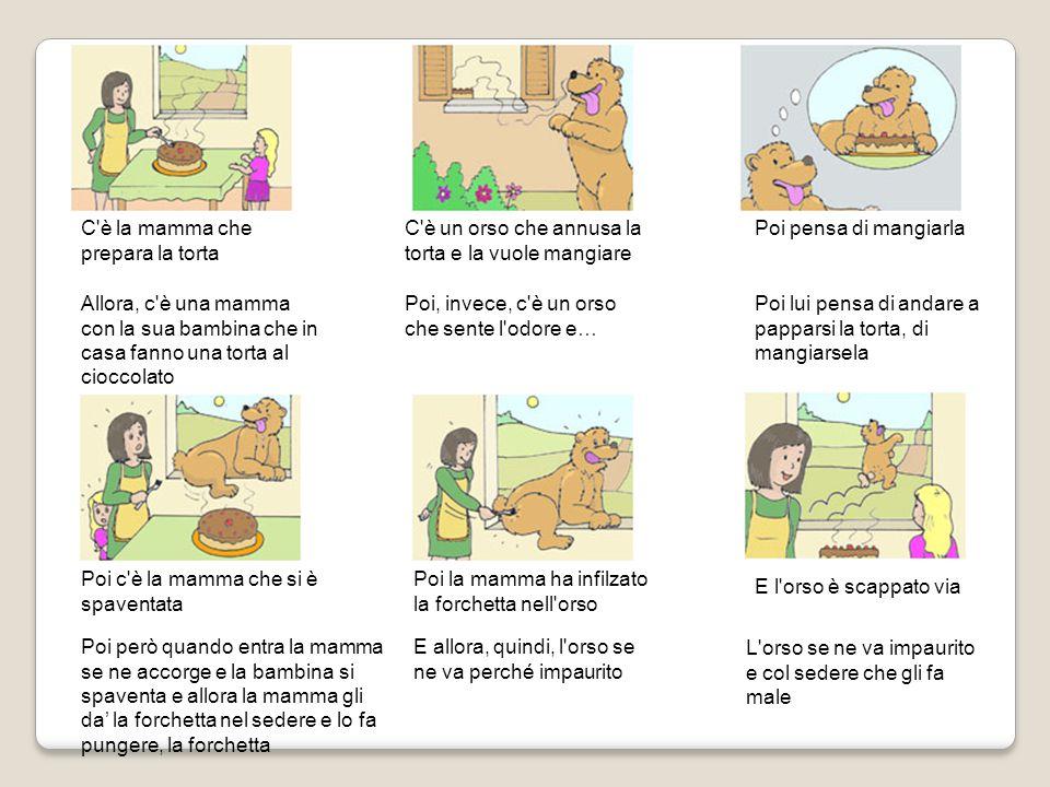 Poi c'è la mamma che si è spaventata Poi la mamma ha infilzato la forchetta nell'orso E l'orso è scappato via C'è un orso che annusa la torta e la vuo