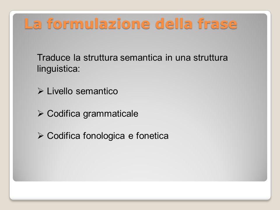 La formulazione della frase Traduce la struttura semantica in una struttura linguistica:  Livello semantico  Codifica grammaticale  Codifica fonolo