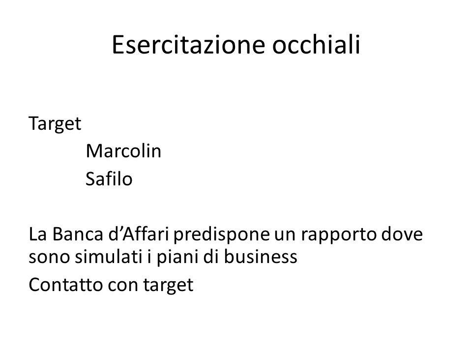 Esercitazione occhiali Target Marcolin Safilo La Banca d'Affari predispone un rapporto dove sono simulati i piani di business Contatto con target