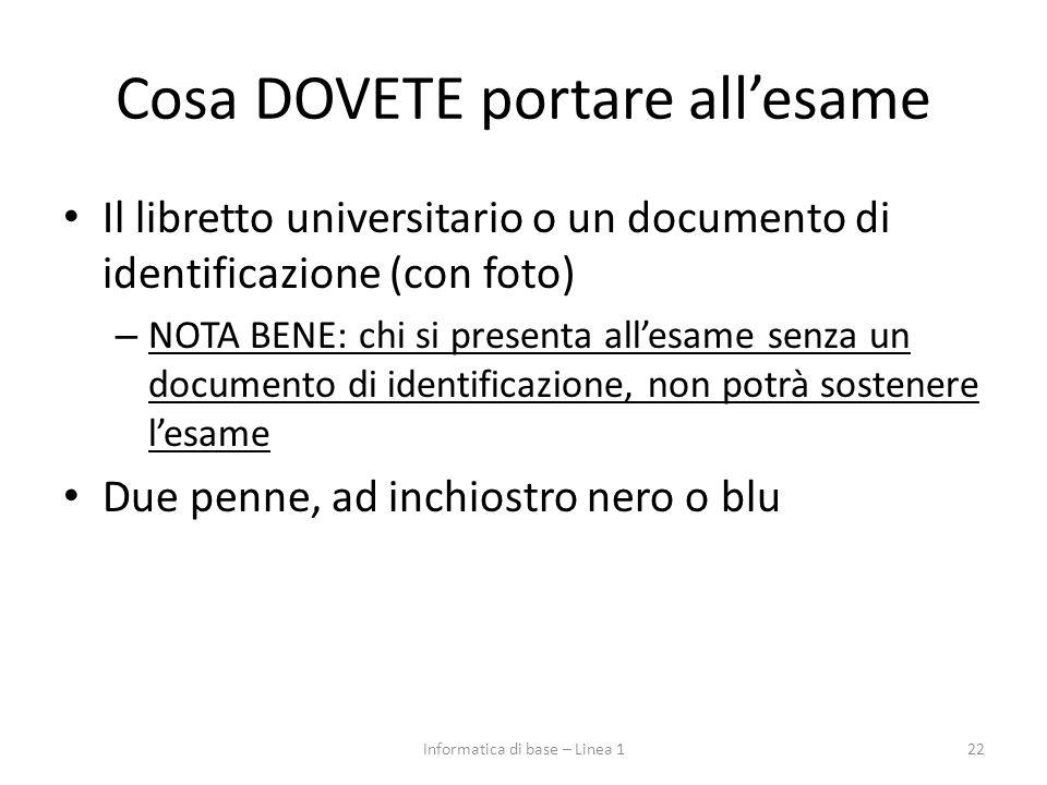 Cosa DOVETE portare all'esame Il libretto universitario o un documento di identificazione (con foto) – NOTA BENE: chi si presenta all'esame senza un d