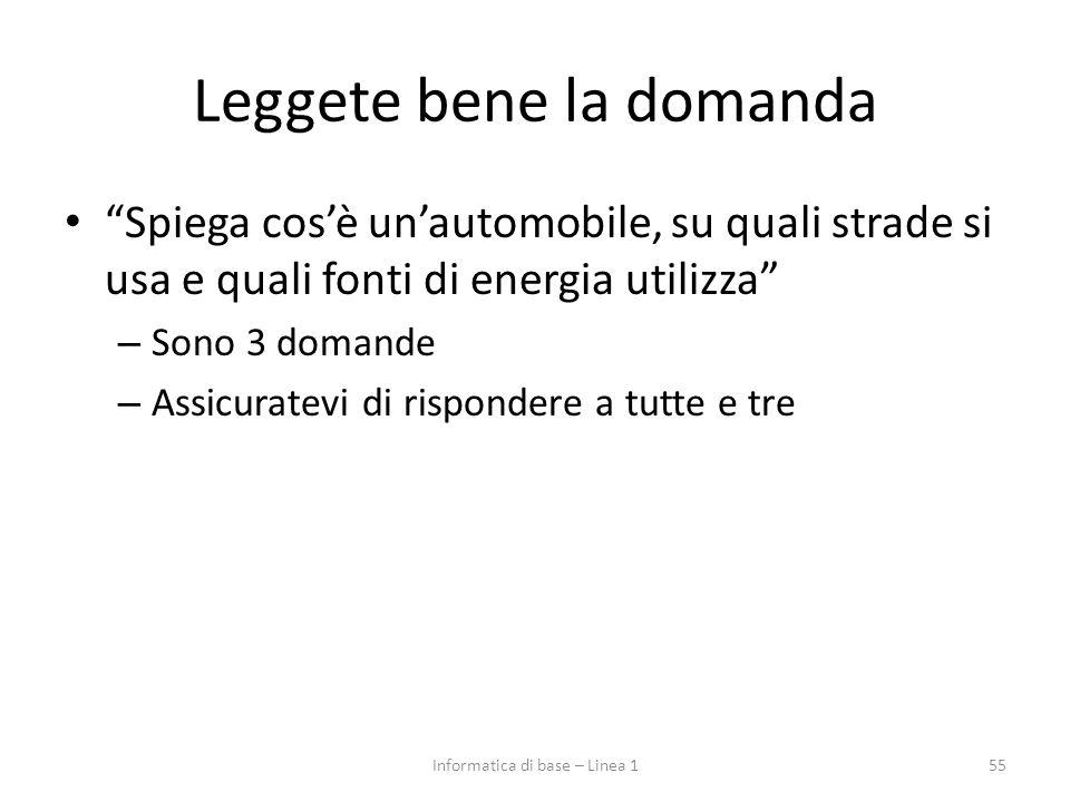 """Leggete bene la domanda """"Spiega cos'è un'automobile, su quali strade si usa e quali fonti di energia utilizza"""" – Sono 3 domande – Assicuratevi di risp"""