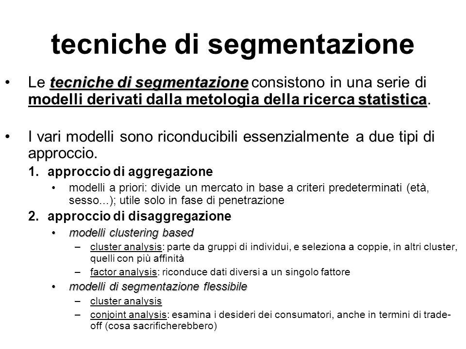 tecniche di segmentazione tecniche di segmentazione statisticaLe tecniche di segmentazione consistono in una serie di modelli derivati dalla metologia della ricerca statistica.