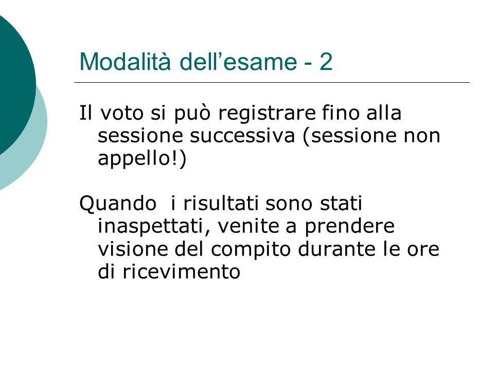 Modalità dell'esame - 2 Il voto si può registrare fino alla sessione successiva (sessione non appello!) Quando i risultati sono stati inaspettati, ven
