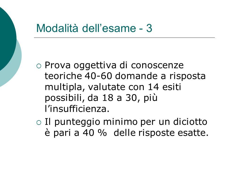 Modalità dell'esame - 3  Prova oggettiva di conoscenze teoriche 40-60 domande a risposta multipla, valutate con 14 esiti possibili, da 18 a 30, più l