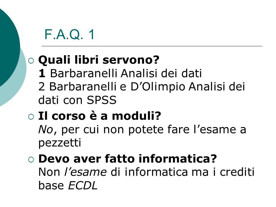 F.A.Q. 1  Quali libri servono? 1 Barbaranelli Analisi dei dati 2 Barbaranelli e D'Olimpio Analisi dei dati con SPSS  Il corso è a moduli? No, per cu
