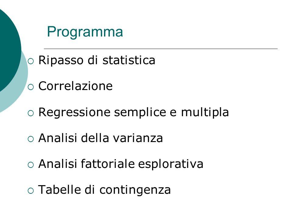 Programma  Ripasso di statistica  Correlazione  Regressione semplice e multipla  Analisi della varianza  Analisi fattoriale esplorativa  Tabelle