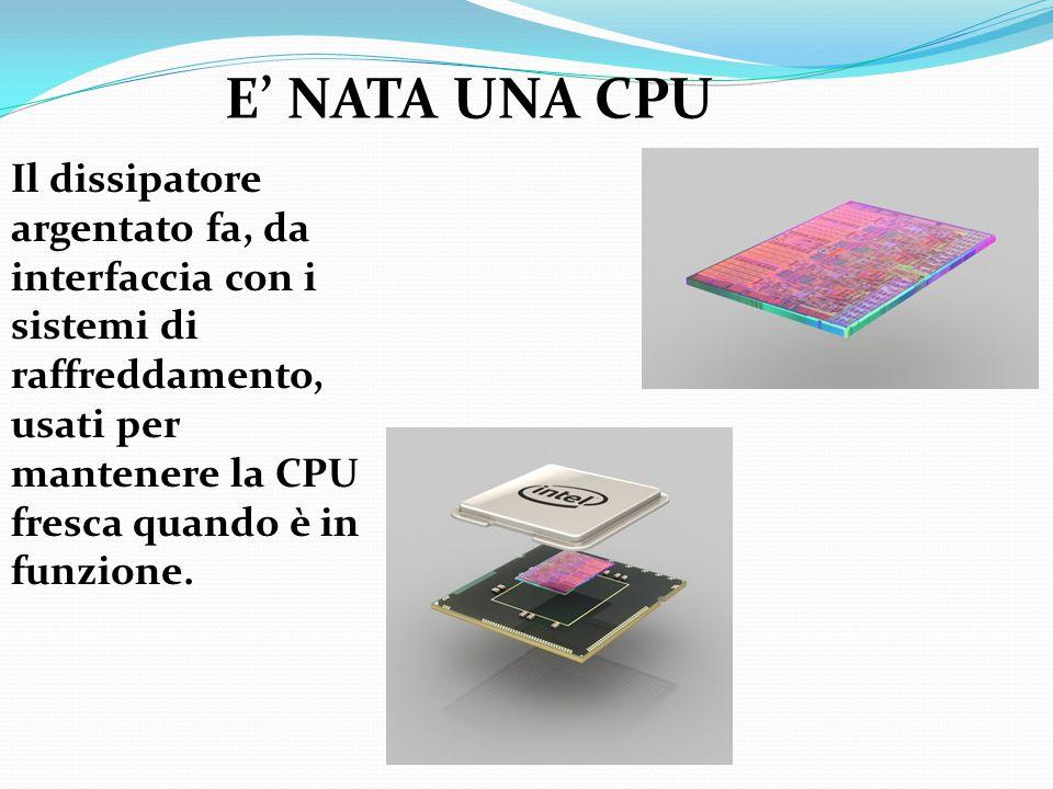 E' NATA UNA CPU Il dissipatore argentato fa, da interfaccia con i sistemi di raffreddamento, usati per mantenere la CPU fresca quando è in funzione.