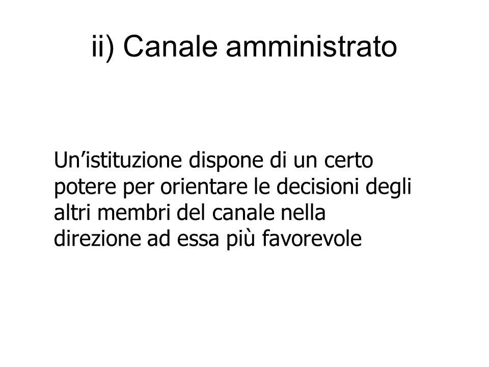 ii) Canale amministrato Un'istituzione dispone di un certo potere per orientare le decisioni degli altri membri del canale nella direzione ad essa più