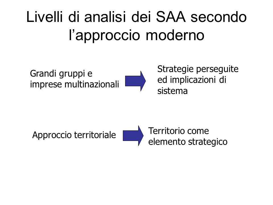 Livelli di analisi dei SAA secondo l'approccio moderno Grandi gruppi e imprese multinazionali Strategie perseguite ed implicazioni di sistema Approccio territoriale Territorio come elemento strategico