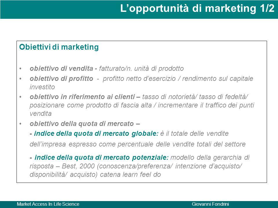 Market Access In Life ScienceGiovanni Fondrini Obiettivi di marketing obiettivo di vendita - fatturato/n. unità di prodotto obiettivo di profitto - pr