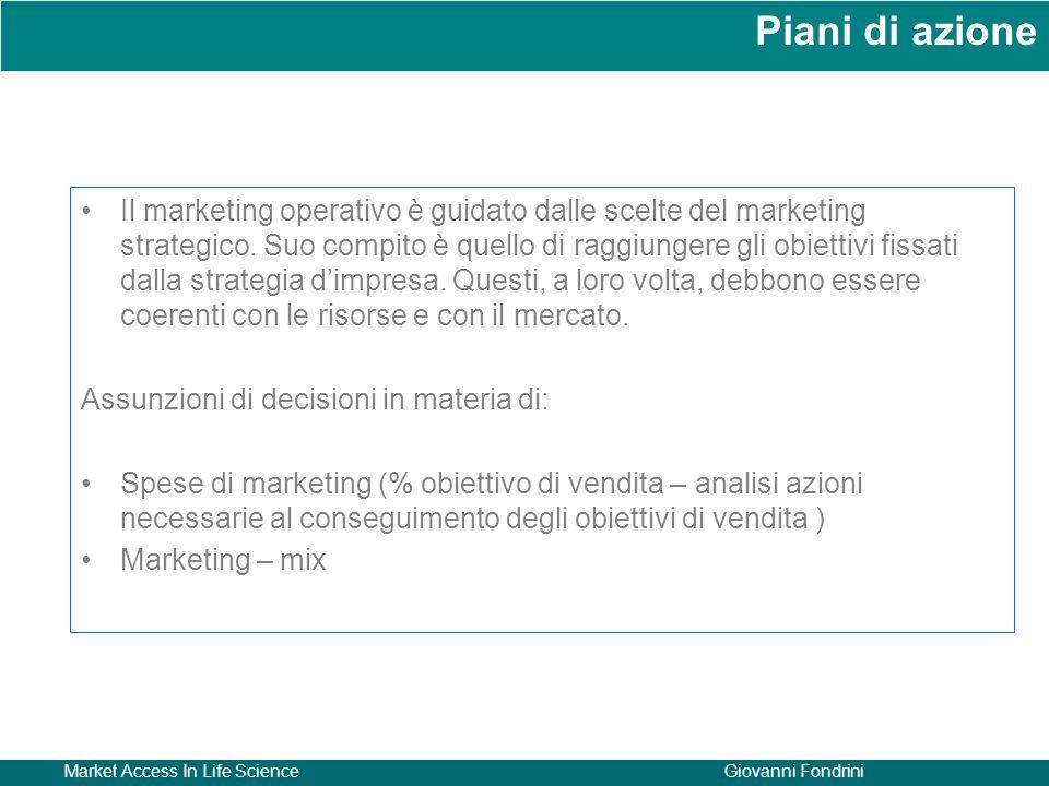 Market Access In Life ScienceGiovanni Fondrini Il marketing operativo è guidato dalle scelte del marketing strategico.