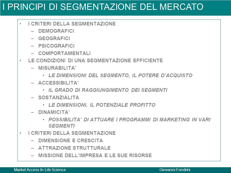Market Access In Life ScienceGiovanni Fondrini I CRITERI DELLA SEGMENTAZIONE –DEMOGRAFICI –GEOGRAFICI –PSICOGRAFICI –COMPORTAMENTALI LE CONDIZIONI DI UNA SEGMENTAZIONE EFFICIENTE –MISURABILITA' LE DIMENSIONI DEL SEGMENTO, IL POTERE D'ACQUISTO –ACCESSIBILITA' IL GRADO DI RAGGIUNGIMENTO DEI SEGMENTI –SOSTANZIALITA LE DIMENSIONI, IL POTENZIALE PROFITTO –DINAMICITA' POSSIBILITA' DI ATTUARE I PROGRAMMI DI MARKETING IN VARI SEGMENTI I CRITERI DELLA SEGMENTAZIONE –DIMENSIONE E CRESCITA –ATTRAZIONE STRUTTURALE –MISSIONE DELL'IMPRESA E LE SUE RISORSE I PRINCIPI DI SEGMENTAZIONE DEL MERCATO