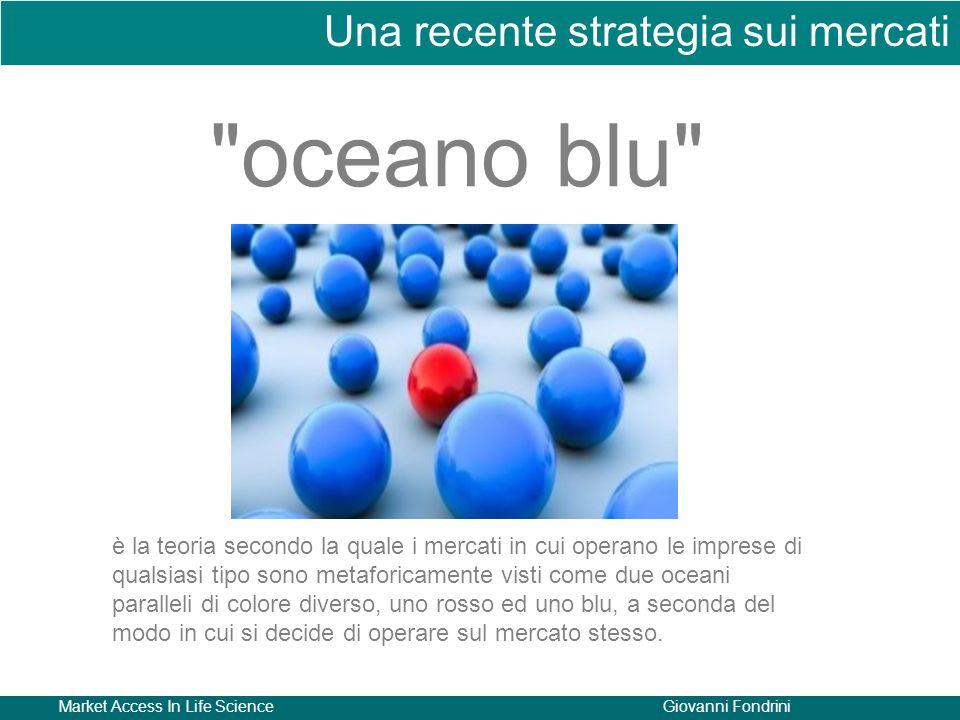Market Access In Life ScienceGiovanni Fondrini Una recente strategia sui mercati oceano blu è la teoria secondo la quale i mercati in cui operano le imprese di qualsiasi tipo sono metaforicamente visti come due oceani paralleli di colore diverso, uno rosso ed uno blu, a seconda del modo in cui si decide di operare sul mercato stesso.