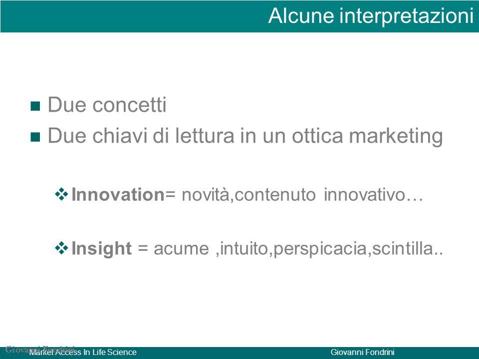 Market Access In Life ScienceGiovanni Fondrini Due concetti Due chiavi di lettura in un ottica marketing  Innovation= novità,contenuto innovativo…  Insight = acume,intuito,perspicacia,scintilla..