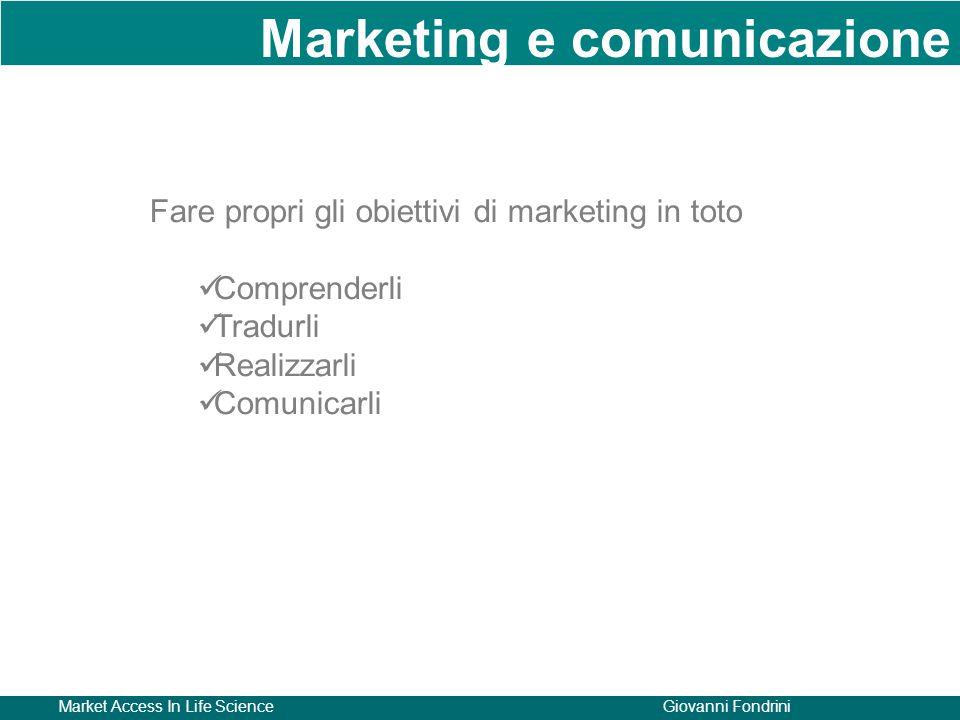 Market Access In Life ScienceGiovanni Fondrini Fare propri gli obiettivi di marketing in toto Comprenderli Tradurli Realizzarli Comunicarli Marketing e comunicazione