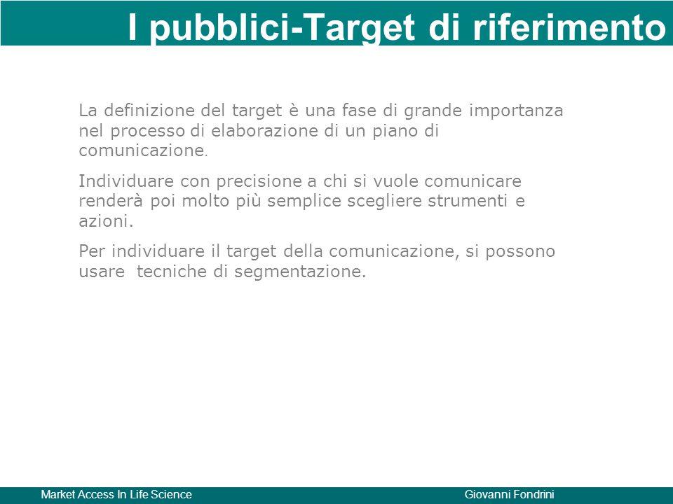Market Access In Life ScienceGiovanni Fondrini I pubblici-Target di riferimento La definizione del target è una fase di grande importanza nel processo di elaborazione di un piano di comunicazione.