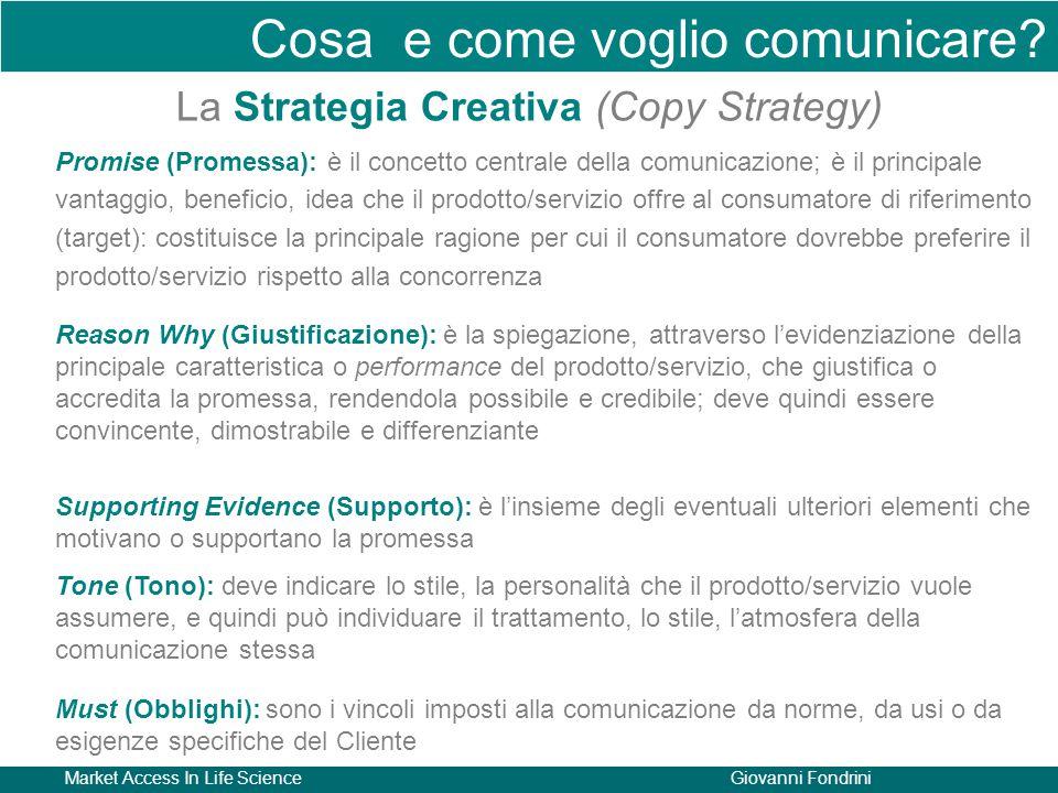 Market Access In Life ScienceGiovanni Fondrini Cosa e come voglio comunicare? La Strategia Creativa (Copy Strategy) Promise (Promessa): è il concetto