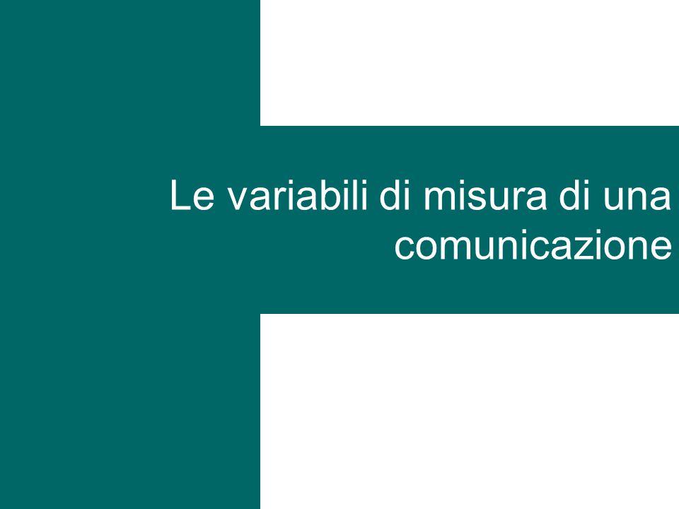 Le variabili di misura di una comunicazione