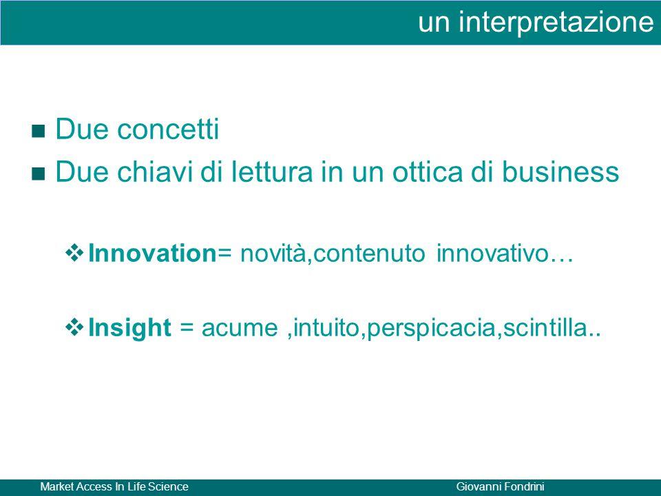 Market Access In Life ScienceGiovanni Fondrini Due concetti Due chiavi di lettura in un ottica di business  Innovation= novità,contenuto innovativo…