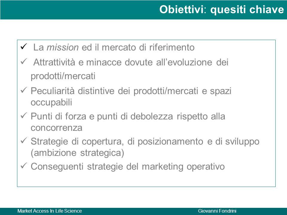 Market Access In Life ScienceGiovanni Fondrini La mission ed il mercato di riferimento Attrattività e minacce dovute all'evoluzione dei prodotti/merca