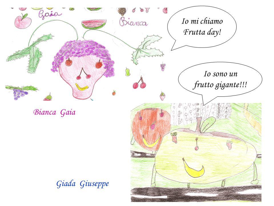 """""""Il mostro tutta frutta"""" Martina B. Sofia M. """"Super frutto incrociato"""" Andrea Christian"""