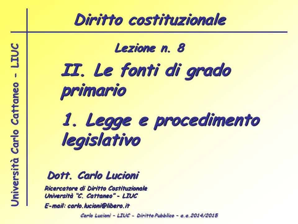 Carlo Lucioni – LIUC - Diritto Pubblico – a.a.2014/2015 Università Carlo Cattaneo - LIUC II. Le fonti di grado primario 1. Legge e procedimento legisl